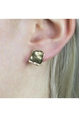 Jéh Jewels Earrings Plug Square Relief Large Silver Gold Plated