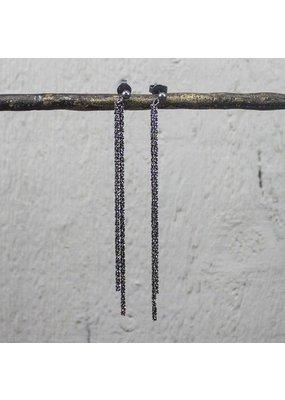 Jéh Jewels Oorbellen Stekers met Koordjes Zwart