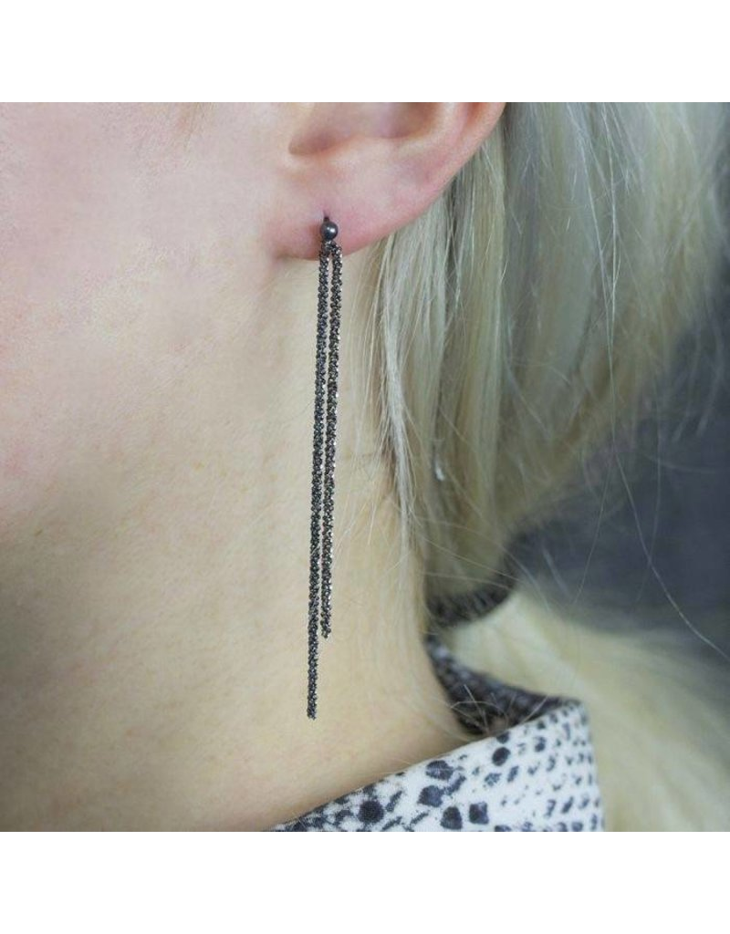 Jéh Jewels Earrings Studs with Cords Black