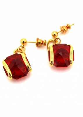 Andrea Marazzini Oorbellen goud octagon red courtes