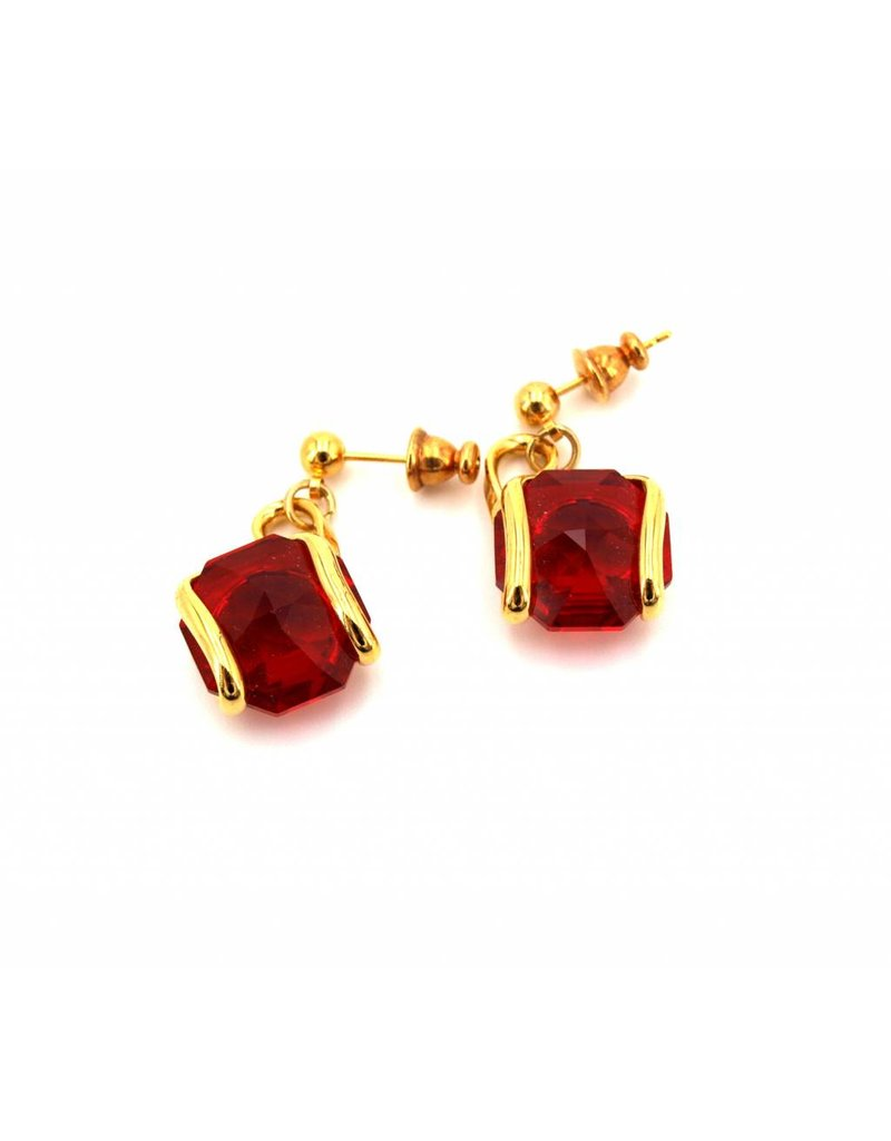 Andrea Marazzini Earrings gold octagon red courtes