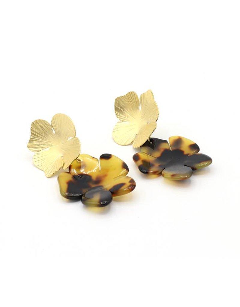 Manuel Opdenakker Oorbellen stekers knop bloem en hanger bloem goud/bruine gevlekt