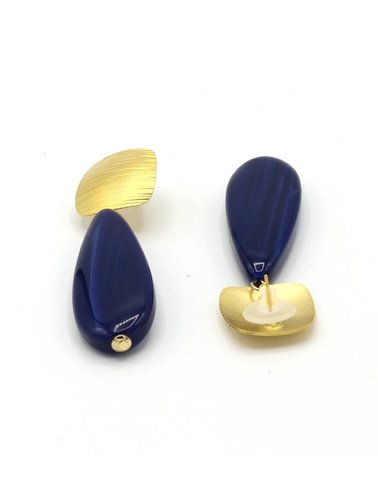 Manuel Opdenakker Oorbellen stekers ronde vierkant gestreept met platte druppel goud mat/blauw