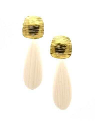 Manuel Opdenakker Oorbellen stekers ronde vierkant gestreept met platte druppel goud/wit