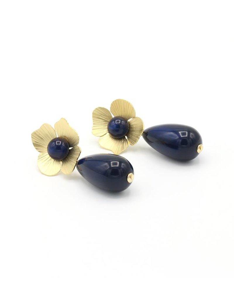 Manuel Opdenakker Oorbellen bloem en knop met druppel hanger goud/blauw