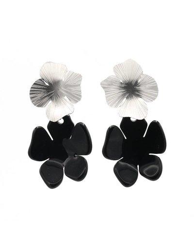 Manuel Opdenakker Oorbellen stekers knop bloem en hanger bloem zilver/zwart