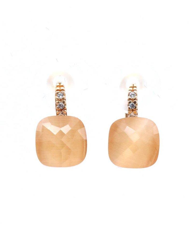 Oorbellen hangers met kristal en oranje steentje