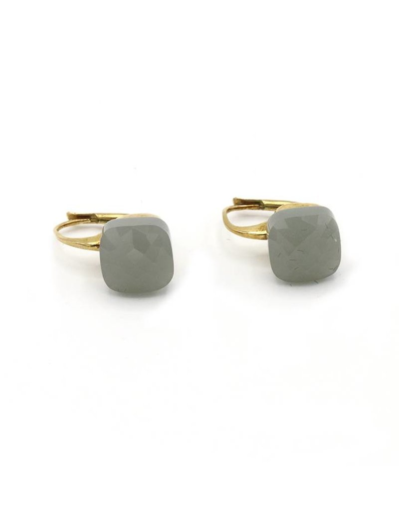 Earrings gray square stone pendant