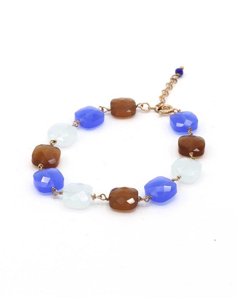 Armband met vierkante steentjes wit/blauw/bruin