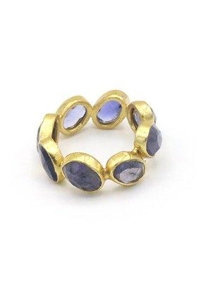 Adore Ring rondom stenen iolite lichtblauw