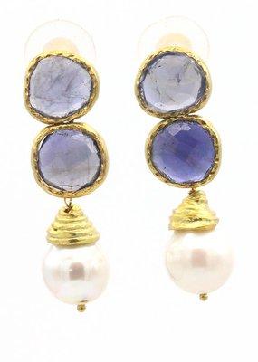 Adore Oorbellen zilver verguld iolite stenen lichtblauw en parel