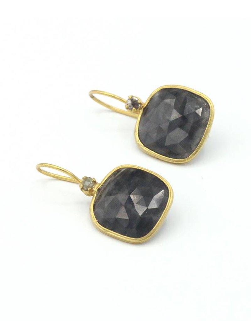 Adore Oorbellen zilver verguld hanger vierkant saffier en zwarte diamant
