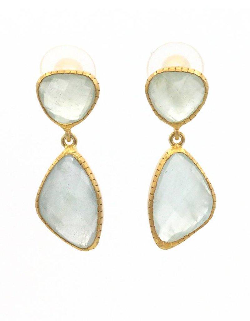 Adore Oorbellen zilver verguld 2 stenen lichtblauw