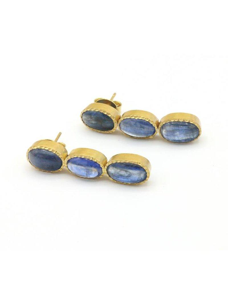 Adore Oorbellen zilver verguld 3 saffieren blauw
