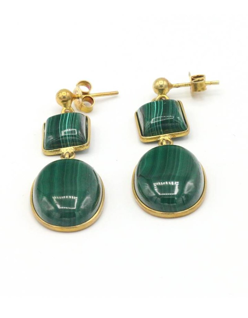 Barong Barong Oorbellen Rond en vierkant steen groen