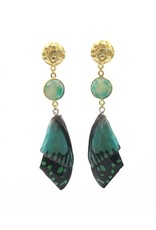 Barong Barong Earrings long with butterfly wing Green
