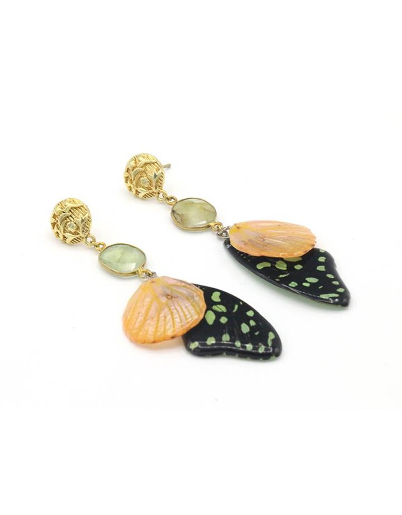 Barong Barong Earrings long with butterfly wing Black/Peach