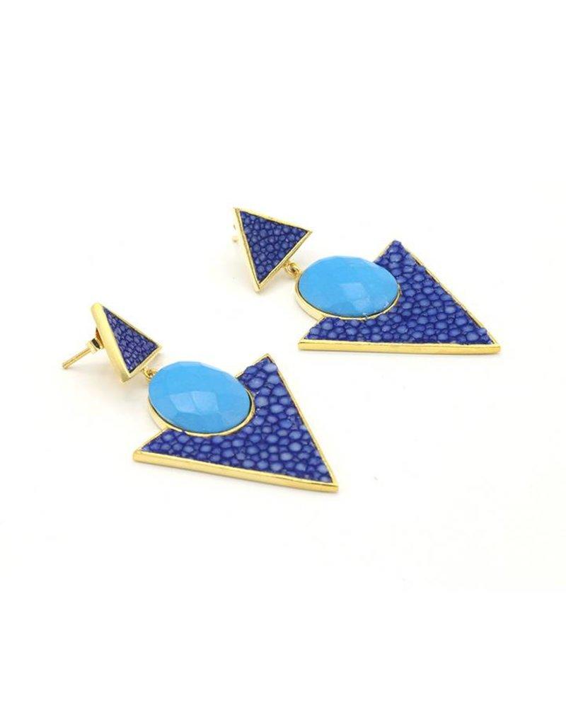 Barong Barong Oorbellen cirkel en driehoek blauw