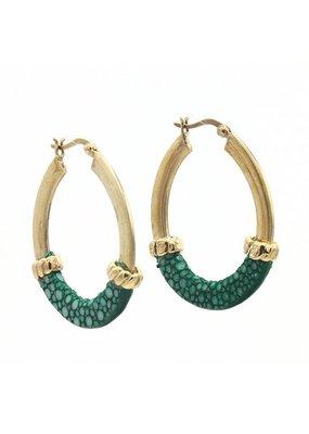 Barong Barong Oorbellen ringen goud met rogge Groen