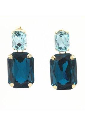 Paviè Oorbellen Stekers met kristal Vierkant Blauw