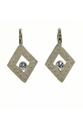 Replica Oorbellen hangers open ruit met kristal klein Zilver