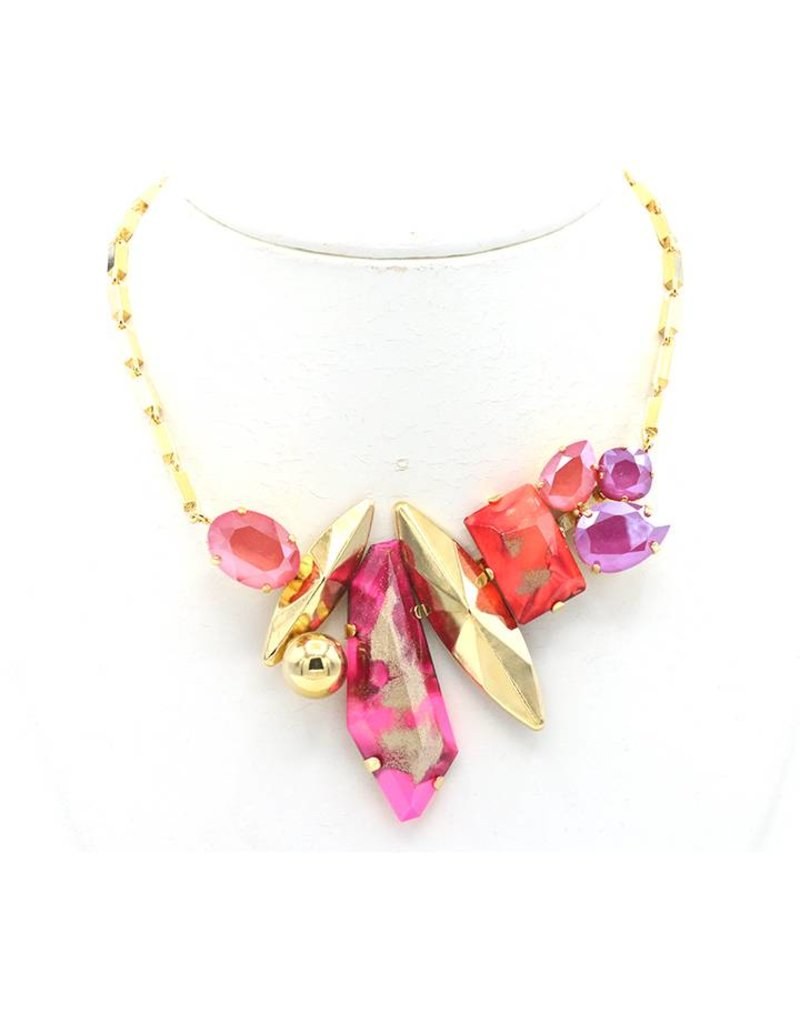 Philippe Ferrandis Necklace short with different stones red / pink