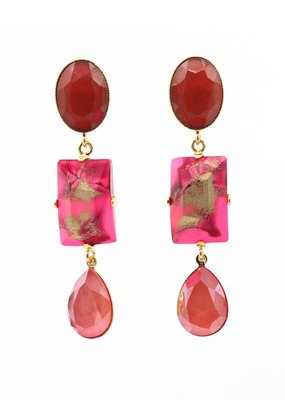 Philippe Ferrandis Oorbellen stekers 3 stenen rood/roze