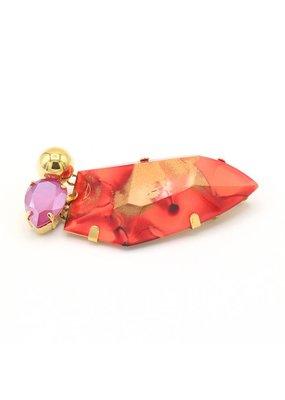 Philippe Ferrandis Broche met grote steen en 2 zijstenen Rood/Roze