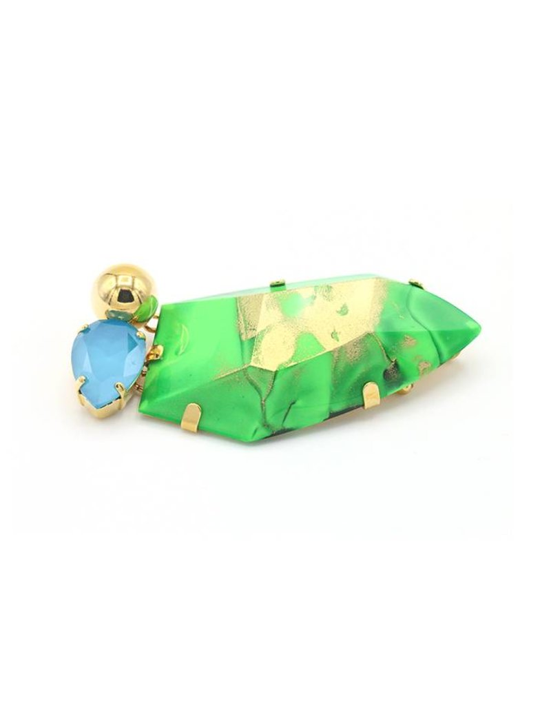 Philippe Ferrandis Brooch with large stone and 2 side stones Green / Blue