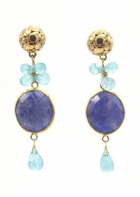 Barong Barong Oorbellen stekers verschillende stenen blauw