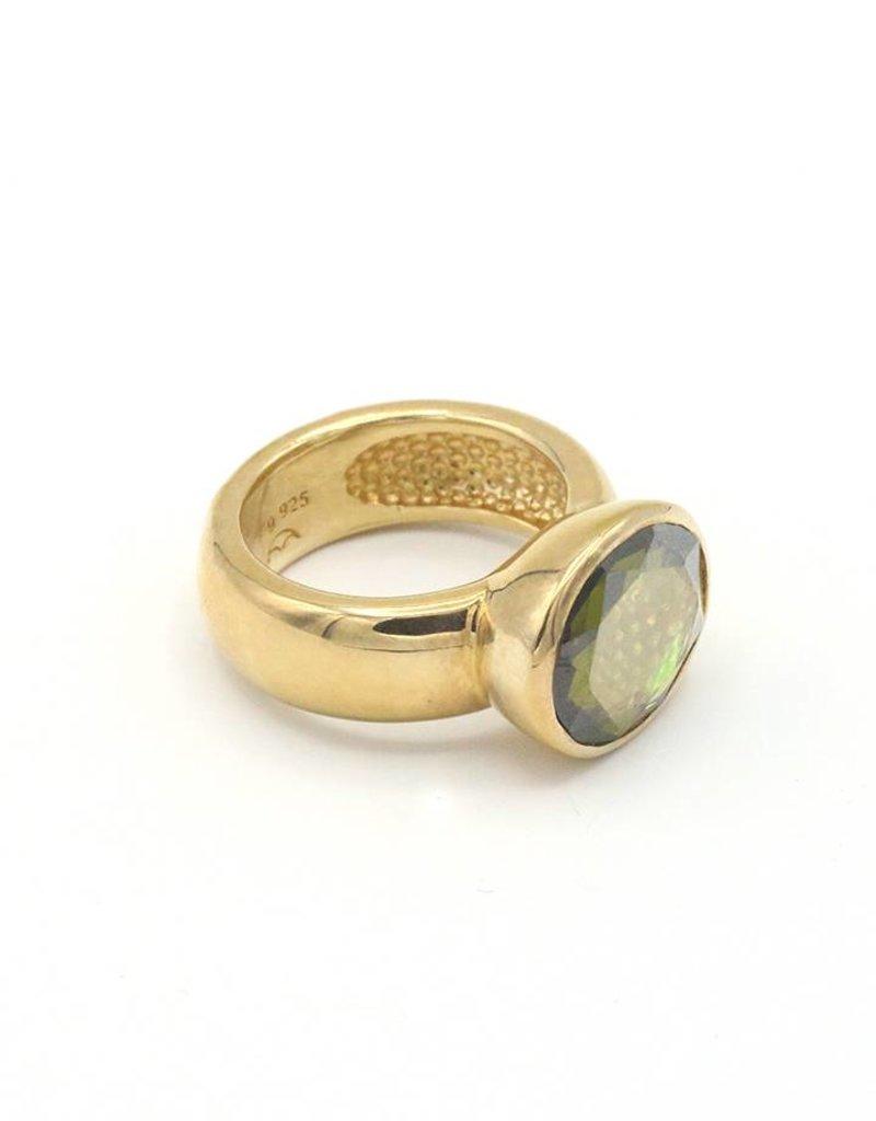 Heide Heinzendorff Ring breed zilver verguld met groene kristal