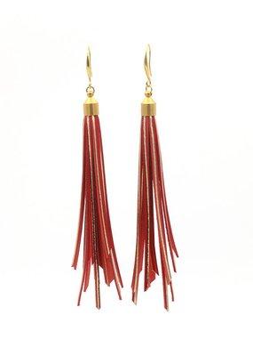 Leather Trinkets Oorbellen Hangers Lange Floch Leder Rood/goud