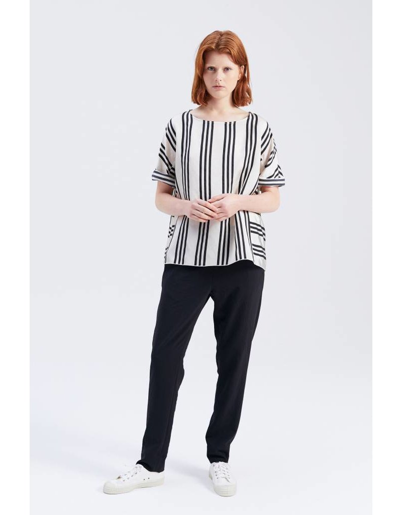 Zenggi SILKY STRIPE EVA TOP BLACK