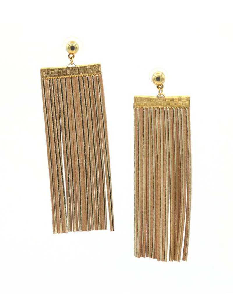 Leather Trinkets Earrings stud rectangle leather Natural/Gold