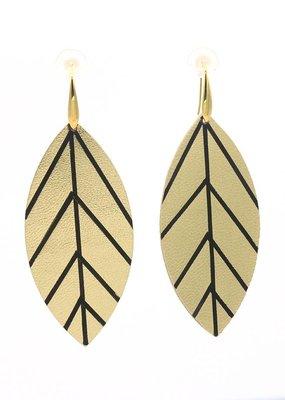Leather Trinkets Oorbellen Hangers Blad Leder Goud/Zwart