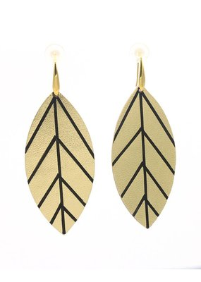 Leather Trinkets Earrings leather leaf Gold/Black