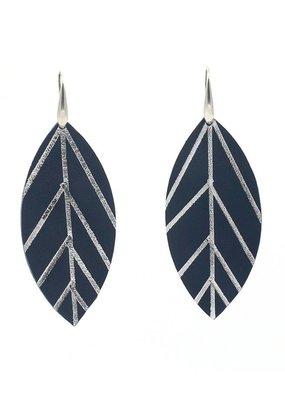 Leather Trinkets Oorbellen Hangers Blad Leder Blauw/Zilver