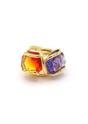 Andrea Marazzini Ring goud octagon fire opal/violet double