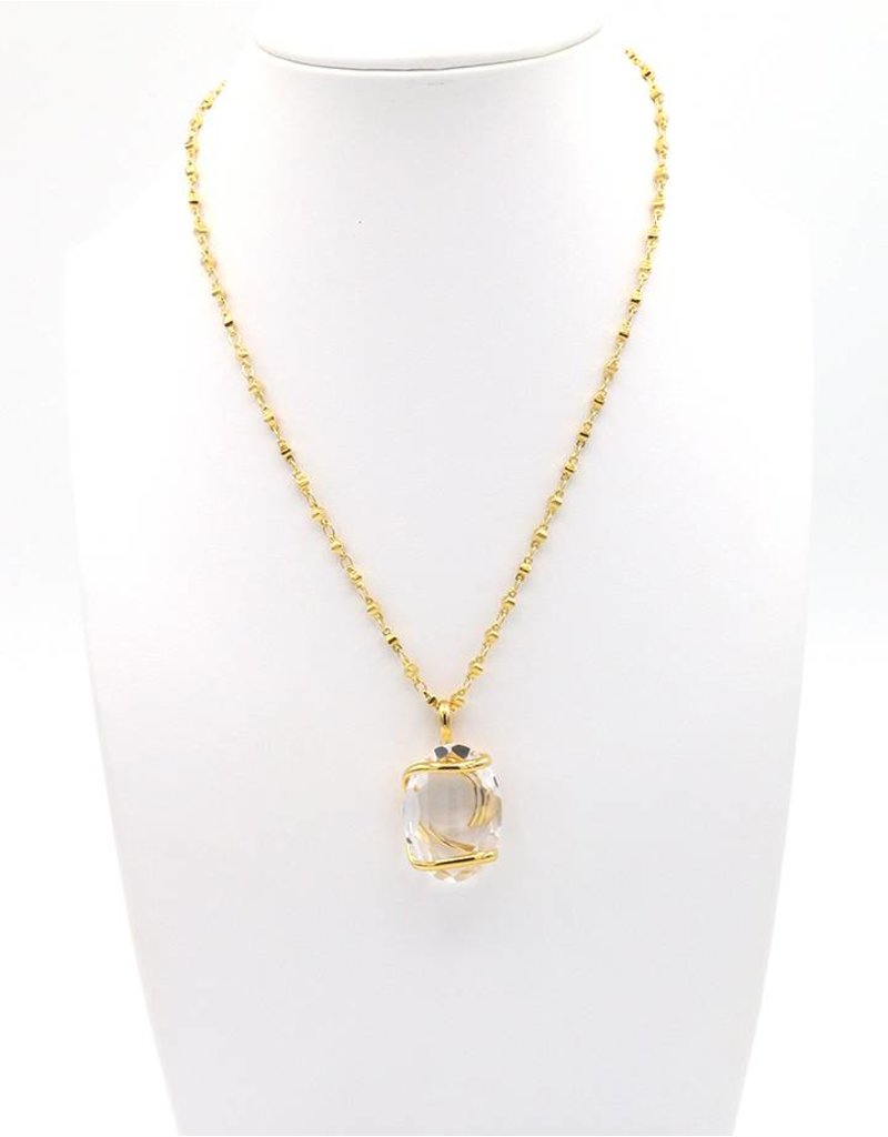 Andrea Marazzini Halsketting big ovale goud crystal penditif