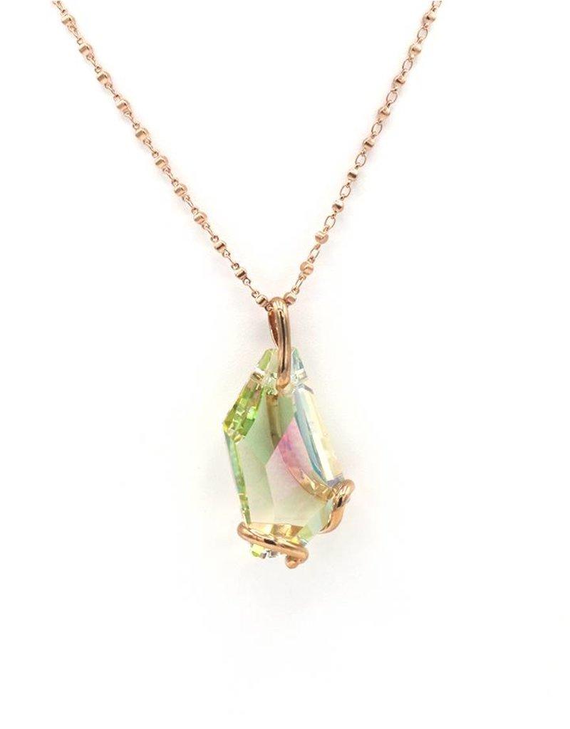 Andrea Marazzini Halsketting rosé goud big de art luminous green