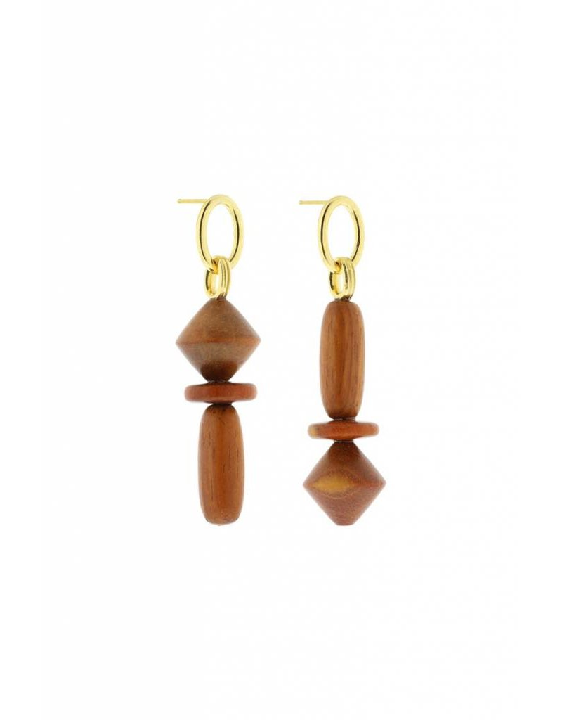 Studio Collect asymmetric statement earrings with bayong wood