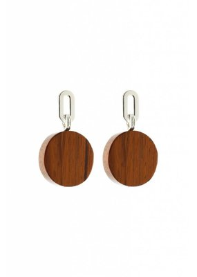 Studio Collect earrings with bayong wood disks Silver