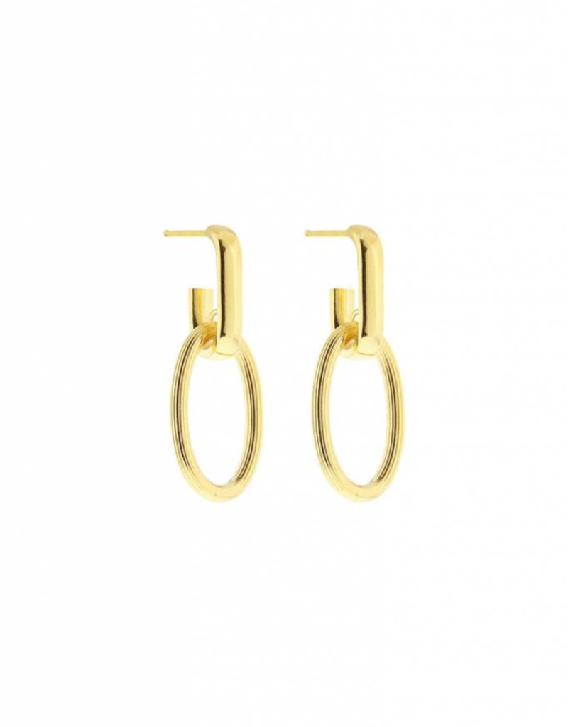 Studio Collect oval hoops with engraved oval pendants Goldplated