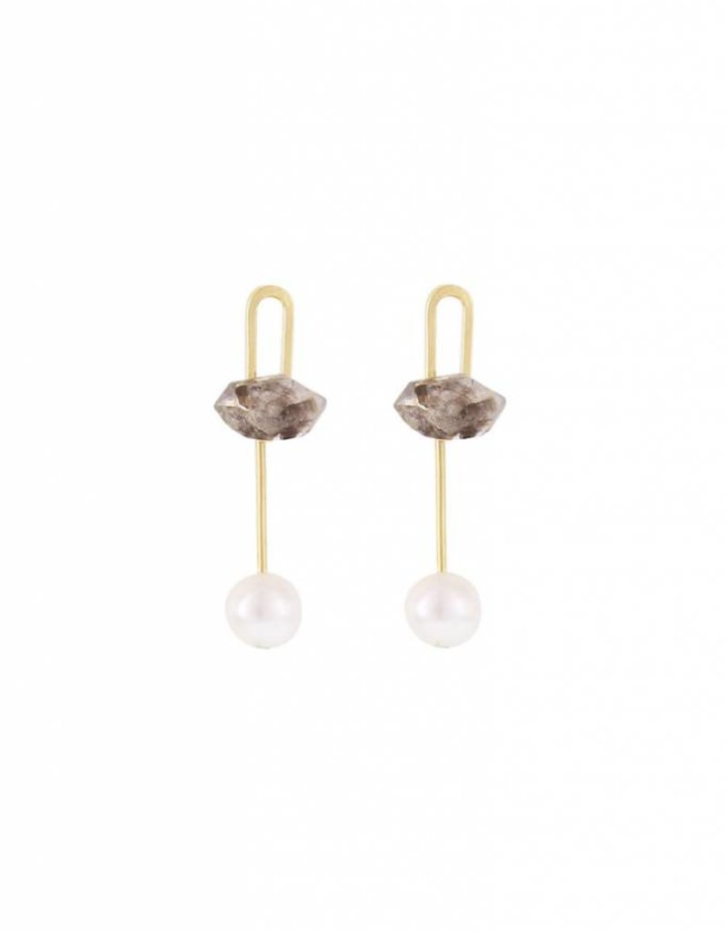 Studio Collect post earrings with quartz crystal and pearls