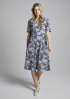 Travel Dress Leaf Print Vintage Dress Warm Blue