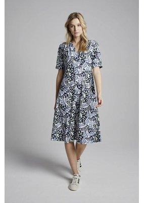 Travel Dress Leaf Print Vintage Dress Warm Blue