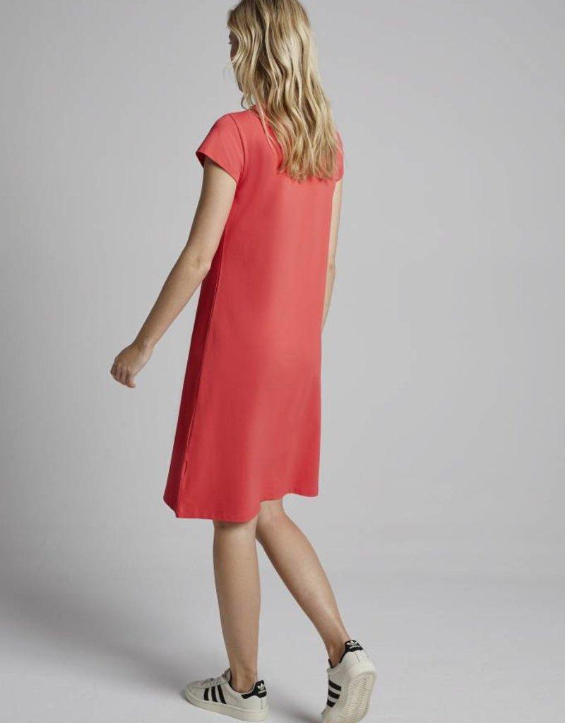 c0c89288d551ac Pique T-Shirt Dress Corallo - Juwelen Blauw Diest
