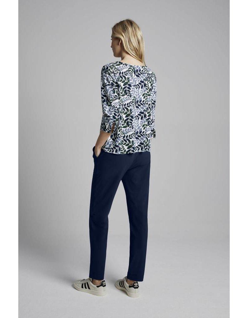 Travel Dress Leaf Print Pleat Top Warm Blue