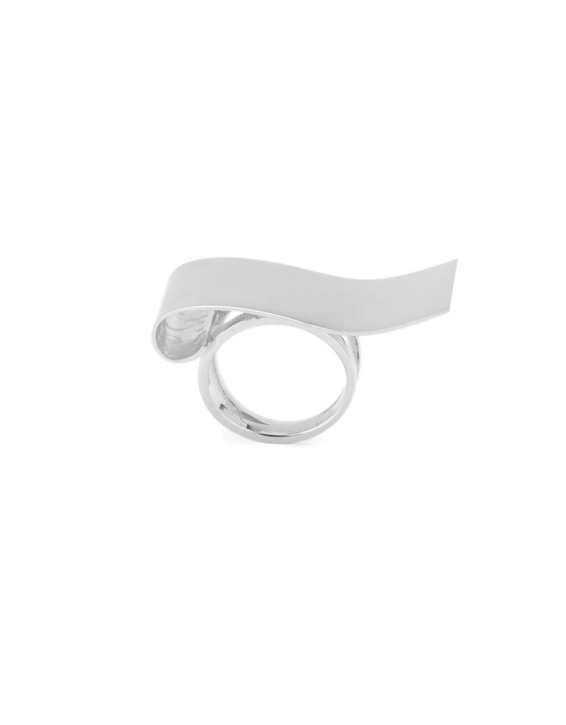 Ring curled plane silver