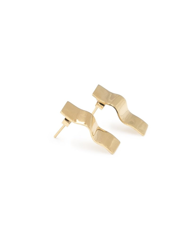 Earrings curles plane gold small